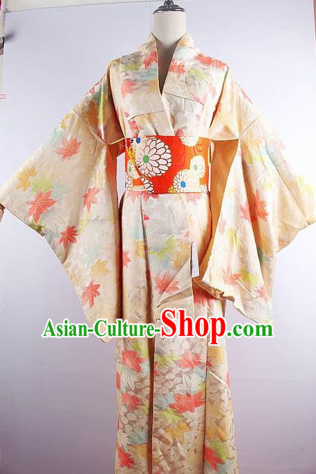 Japanese Ceremony Costume Printing Maple Leaf Silk Kimono Dress Traditional Asian Japan Yukata for Women