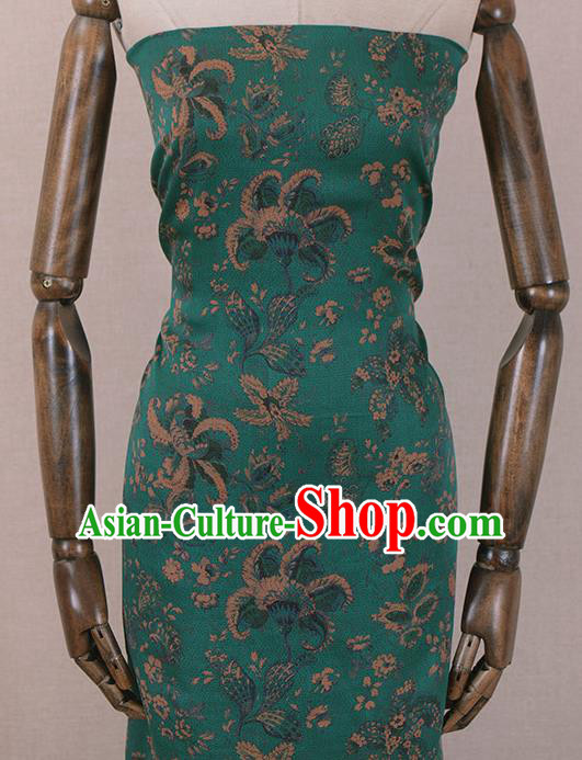 Asian Chinese Classical Pattern Design Green Gambiered Guangdong Gauze Traditional Cheongsam Brocade Silk Fabric
