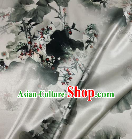 Asian Chinese Classical Ink Painting Lotus Pattern White Brocade Satin Drapery Traditional Cheongsam Brocade Silk Fabric