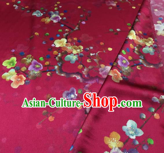 Asian Chinese Classical Plum Pattern Rosy Brocade Satin Drapery Traditional Cheongsam Brocade Silk Fabric