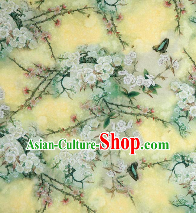 Asian Chinese Classical Pear Flowers Pattern Yellow Brocade Satin Drapery Traditional Cheongsam Brocade Silk Fabric