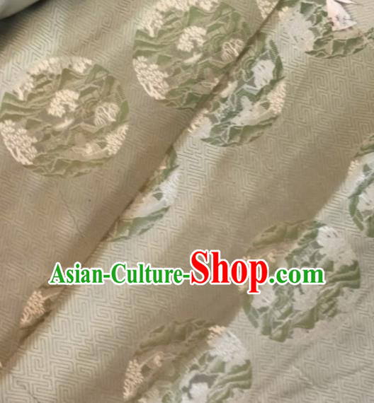 Asian Chinese Classical Pattern Beige Satin Drapery Gambiered Guangdong Gauze Brocade Traditional Cheongsam Brocade Silk Fabric