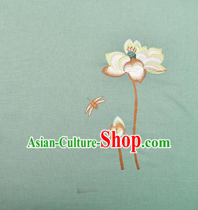 Asian Chinese Cheongsam Classical Embroidered Lotus Pattern Green Satin Drapery Brocade Traditional Brocade Silk Fabric
