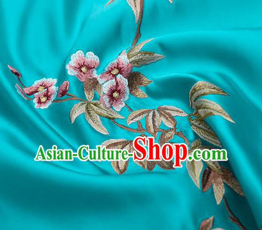 Asian Chinese Cheongsam Classical Embroidered Plum Pattern Blue Satin Drapery Brocade Traditional Brocade Silk Fabric