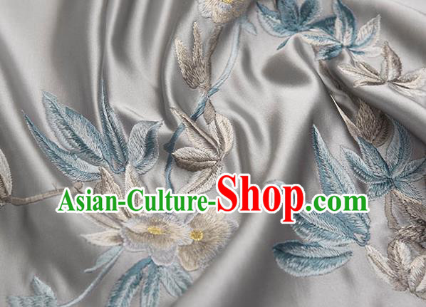 Asian Chinese Cheongsam Classical Embroidered Plum Pattern Grey Satin Drapery Brocade Traditional Brocade Silk Fabric