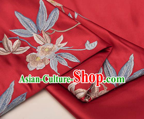 Asian Chinese Cheongsam Classical Embroidered Plum Pattern Red Satin Drapery Brocade Traditional Brocade Silk Fabric