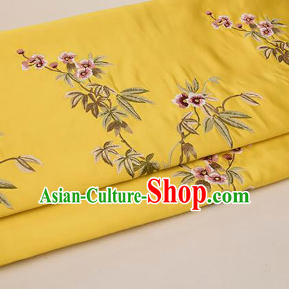 Asian Chinese Cheongsam Classical Embroidered Plum Pattern Yellow Satin Drapery Brocade Traditional Brocade Silk Fabric