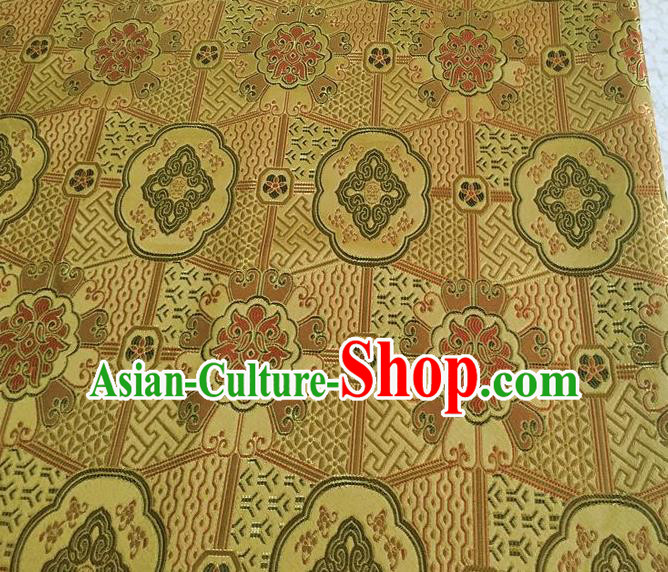 Asian Chinese Cheongsam Classical Lucky Pattern Yellow Satin Drapery Brocade Traditional Brocade Silk Fabric