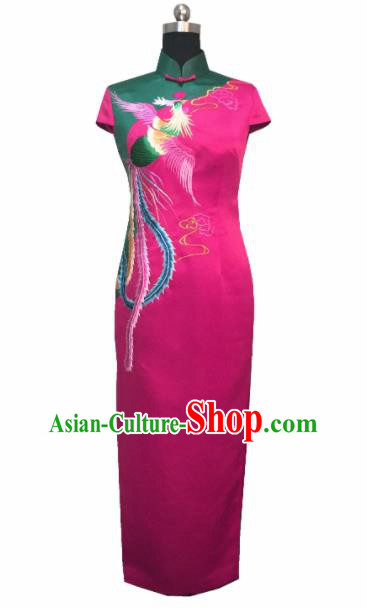 Chinese Traditional Customized Embroidered Phoenix Rosy Cheongsam National Costume Classical Qipao Dress for Women