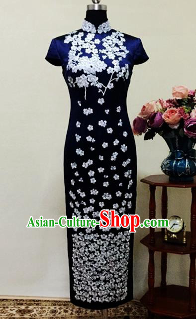Chinese Traditional Customized Embroidered Navy Cheongsam National Costume Classical Qipao Dress for Women