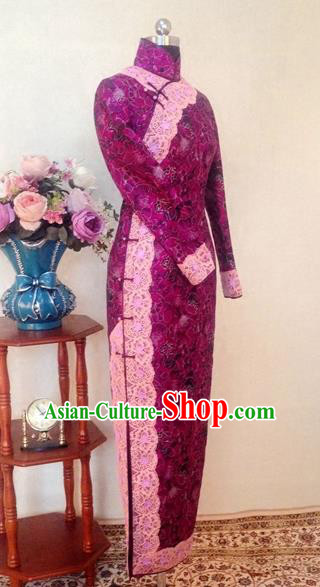 Chinese Traditional Customized Rosy Lace Cheongsam National Costume Classical Qipao Dress for Women