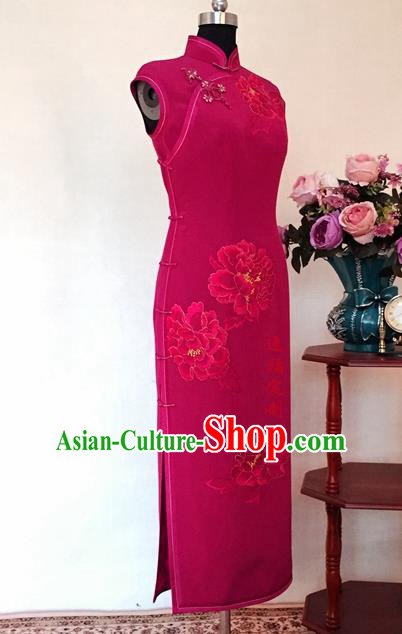 Chinese Traditional Customized Printing Peony Rosy Cheongsam National Costume Classical Qipao Dress for Women