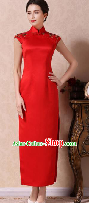 Chinese Traditional Customized Red Silk Cheongsam National Costume Classical Qipao Dress for Women