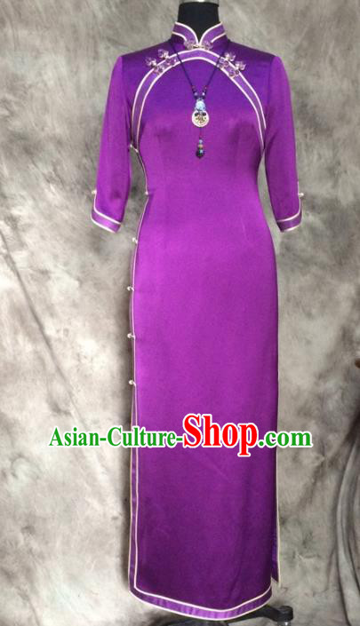 Chinese Traditional Customized Purple Silk Cheongsam National Costume Classical Qipao Dress for Women