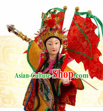 Traditional Chinese Handmade Mu Guiying Puppet Marionette Puppets String Puppet Wooden Image Arts Collectibles