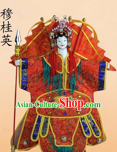 Chinese Traditional Female General Mu Guiying Marionette Puppets Handmade Puppet String Puppet Wooden Image Arts Collectibles