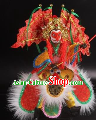 Traditional Chinese Red Sun Wukong Marionette Puppets Handmade Puppet String Puppet Wooden Image Arts Collectibles