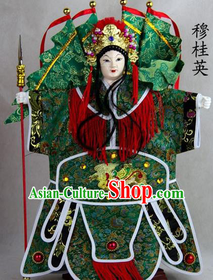 Traditional Chinese Green General Mu Guiying Marionette Puppets Handmade Puppet String Puppet Wooden Image Arts Collectibles
