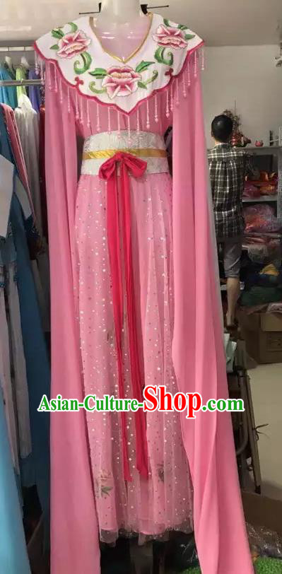 Traditional Chinese Handmade Beijing Opera Lin Daiyu Costumes Ancient Peri Princess Pink Dress for Women