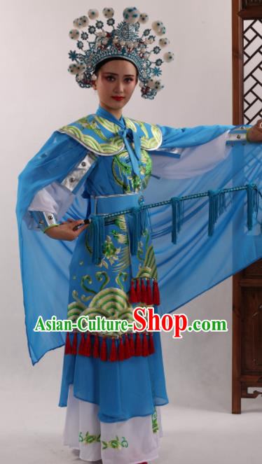 Traditional Chinese Peking Opera Magic Warriors Blue Dress Ancient Female General Mu Guiying Costume for Women