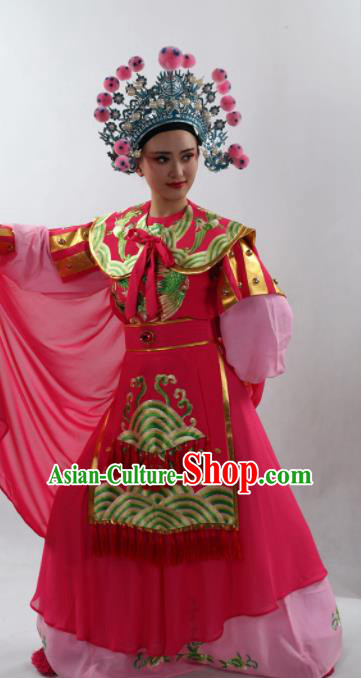 Traditional Chinese Peking Opera Magic Warriors Rosy Dress Ancient Female General Mu Guiying Costume for Women