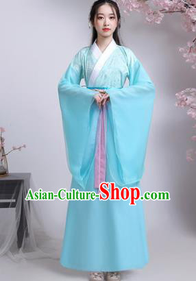Chinese Ancient Drama Peri Blue Hanfu Dress Traditional Han Dynasty Court Princess Replica Costumes for Women