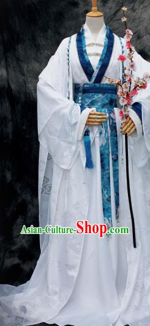 Traditional Chinese Cosplay Swordsman Nobility Childe White Costume Ancient Royal Highness Hanfu Clothing for Men