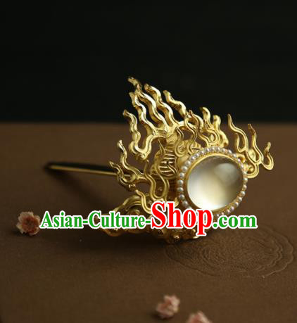 Chinese Ancient Princess Golden Fire Hair Crown Hairpins Traditional Hanfu Hair Clip Hair Accessories for Women