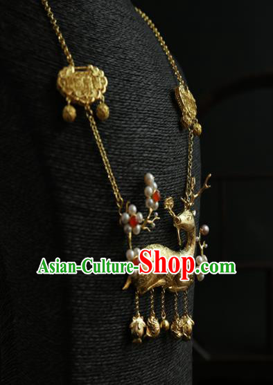Chinese Ancient Court Golden Deer Longevity Lock Necklace Traditional Princess Hanfu Necklet Accessories for Women