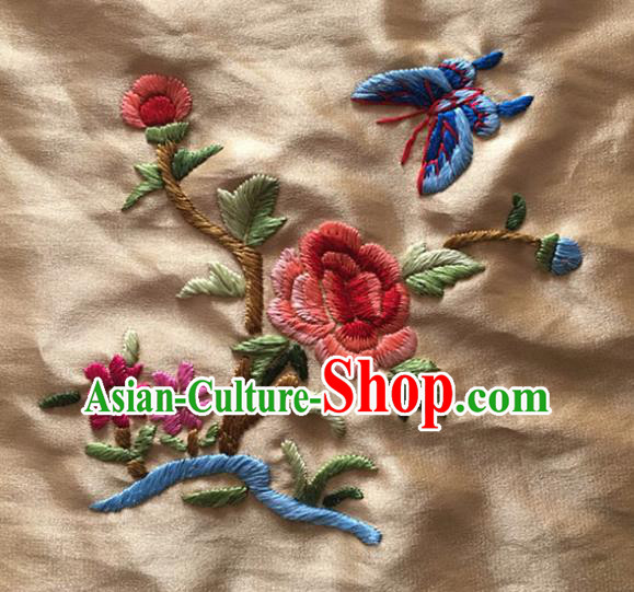 Chinese Handmade Traditional Embroidery Craft Embroidered Butterfly Flower Silk Fabric Patch