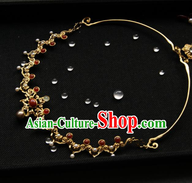 Chinese Ancient Court Golden Necklace Traditional Princess Hanfu Necklet Accessories for Women