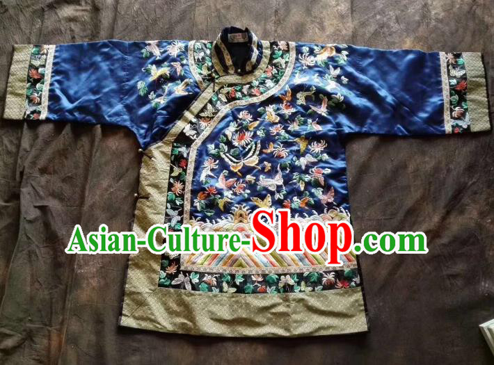Chinese Traditional Tang Suit Embroidered Butterfly Blue Coat National Costume for Women
