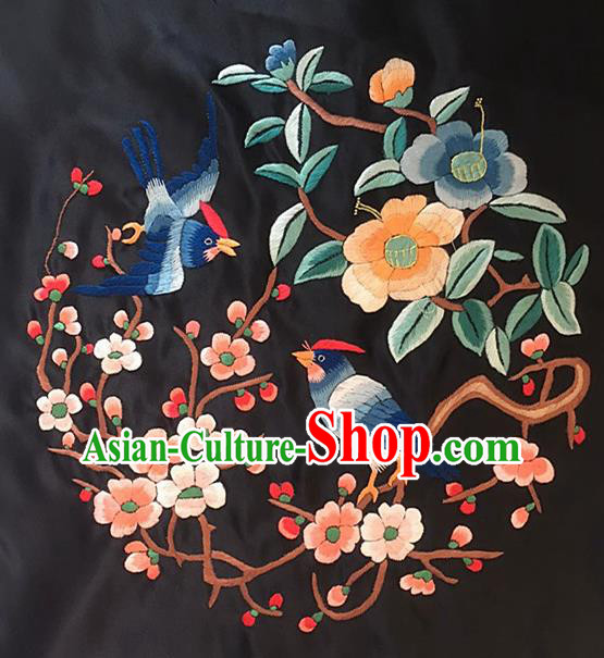Chinese Handmade Traditional Embroidery Craft Embroidered Plum Birds Silk Fabric Patch