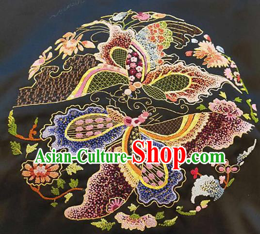 Chinese Handmade Embroidered Butterfly Flowers Silk Fabric Patch Traditional Embroidery Craft