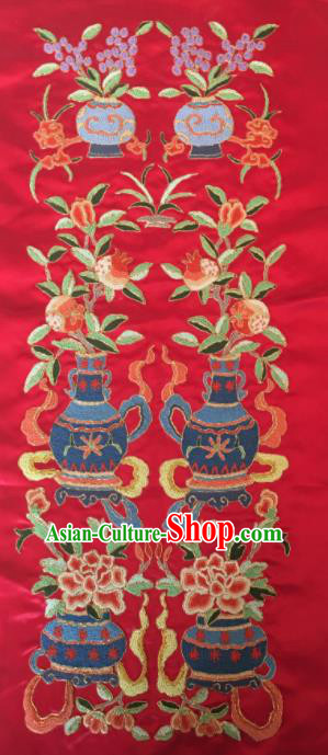 Chinese Handmade Embroidered Flowers Vase Red Silk Fabric Patch Traditional Embroidery Craft