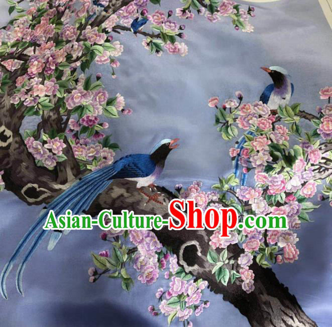 Chinese Handmade Embroidered Begonia Birds Silk Fabric Patch Traditional Embroidery Craft