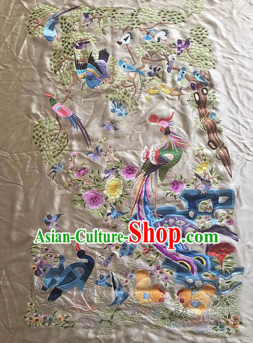 Chinese Handmade Embroidered Birds Phoenix Silk Fabric Patch Traditional Embroidery Craft