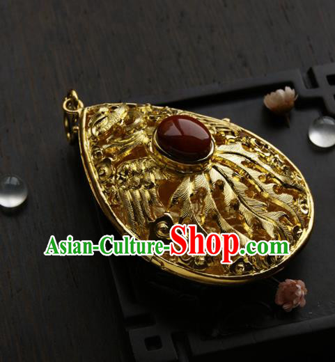 Chinese Ancient Court Golden Necklace Pendant Traditional Princess Hanfu Necklet Accessories for Women