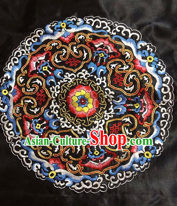 Chinese Handmade Embroidered Flower Silk Fabric Patch Traditional Embroidery Craft