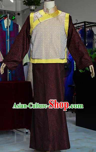 Chinese Ancient Drama Royal Highness Brown Costumes Traditional Qing Dynasty Prince Clothing for Men