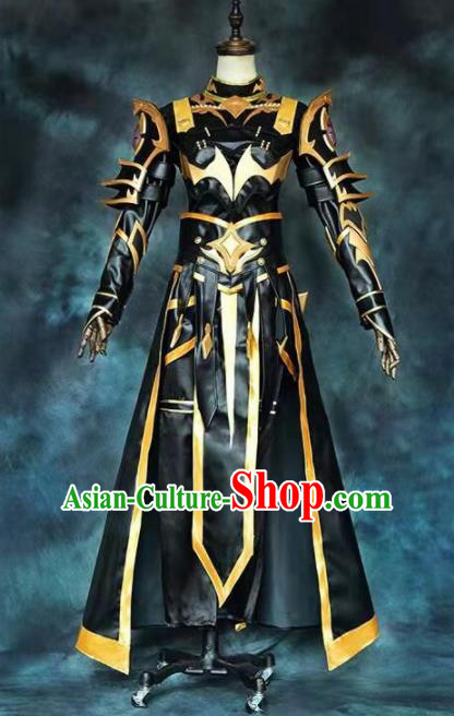 Chinese Ancient Drama Cosplay Taoist Priest General Armor Black Clothing Traditional Hanfu Swordsman Costume for Men