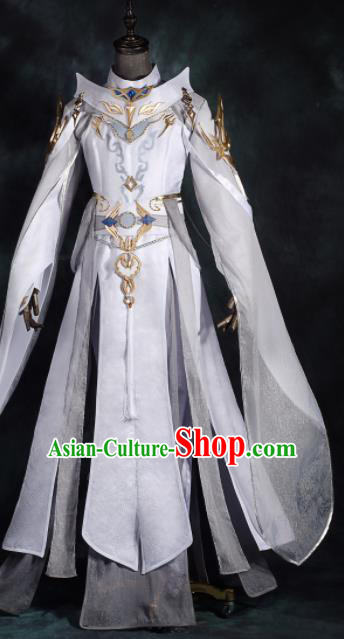 Chinese Ancient Drama Cosplay General White Clothing Traditional Hanfu Swordsman Costume for Men
