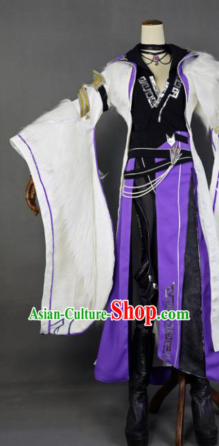 Chinese Ancient Cosplay Royal Highness Knight Purple Clothing Traditional Hanfu Swordsman Costume for Men