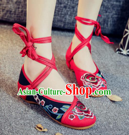 Asian Chinese Traditional Black Embroidered Peony Shoes Hanfu Wedding Shoes Ethnic National Cloth Shoes for Women