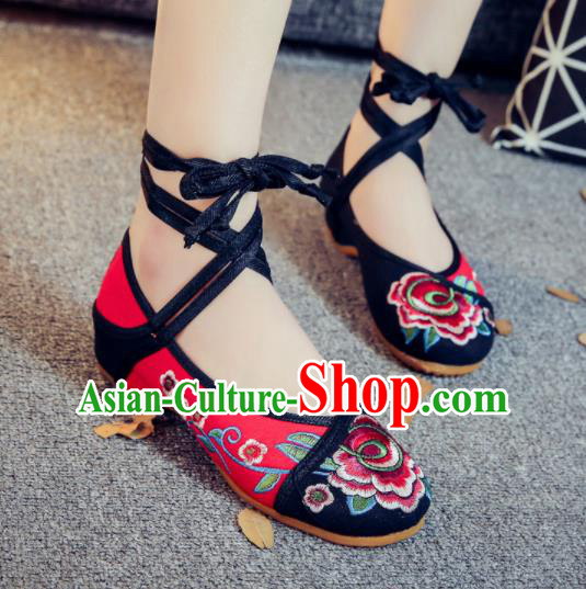 Asian Chinese Traditional Red Embroidered Peony Shoes Hanfu Wedding Shoes Ethnic National Cloth Shoes for Women