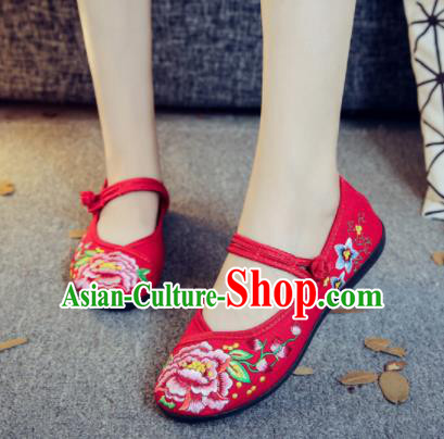 Asian Chinese Traditional Ethnic Red Embroidered Shoes Hanfu Wedding Shoes National Cloth Shoes for Women