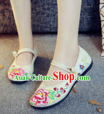 Asian Chinese Traditional Ethnic White Embroidered Shoes Hanfu Wedding Shoes National Cloth Shoes for Women