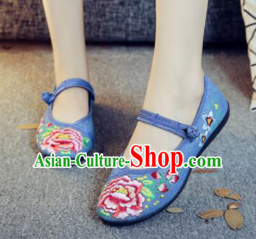 Asian Chinese Traditional Ethnic Blue Embroidered Shoes Hanfu Wedding Shoes National Cloth Shoes for Women