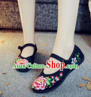 Asian Chinese Traditional Ethnic Black Embroidered Shoes Hanfu Wedding Shoes National Cloth Shoes for Women