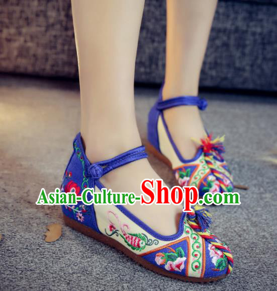 Asian Chinese Traditional Ethnic Dance Royalblue Embroidered Shoes Hanfu Wedding Shoes National Cloth Shoes for Women